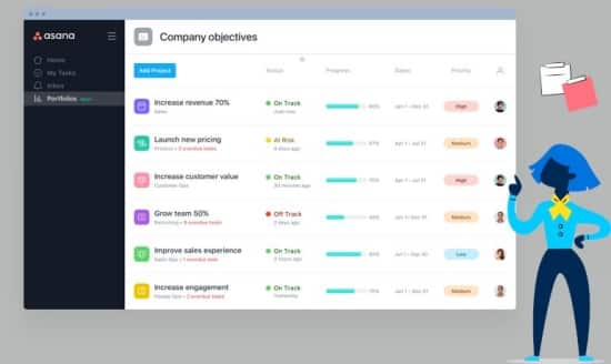 Asana is an organizing app used to manage your work, projects, lists and tasks online.