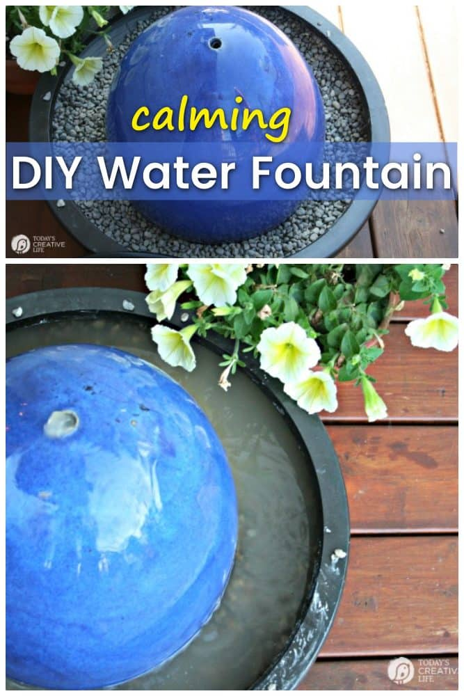 DIY water fountain next to flower pots on an outdoor deck or porch in the summer using simple lawn and garden products.