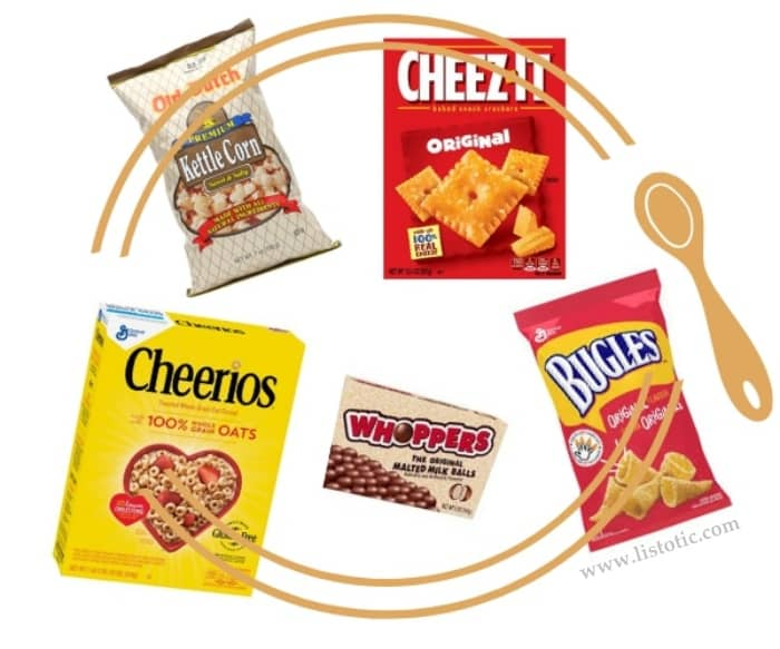 Bugles, Cheez it, popcorn, cheerios and whoppers are all Dollar Store ingredients for a no bake recipe to mix up for a large crowd or party.