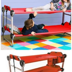 two kids resting comfortably on a portable red bunk bed for a summer sleepover