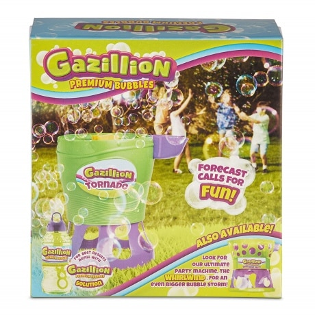 boxed to for kids when it is turned on it fills the air with bubbles. Box shows image of kids playing with toy in the grass and bubbles floating around them.