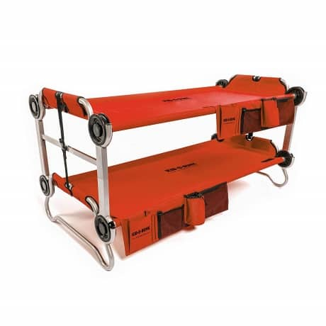 double red cot made into a bunk bed perfect for kids to sleep in while traveling. Hanging storage compartments and drink holder.