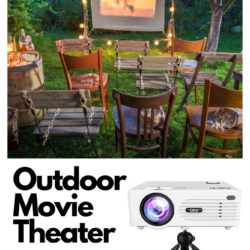 chairs set up in a back yard for an out door movie theater experience with a projector.