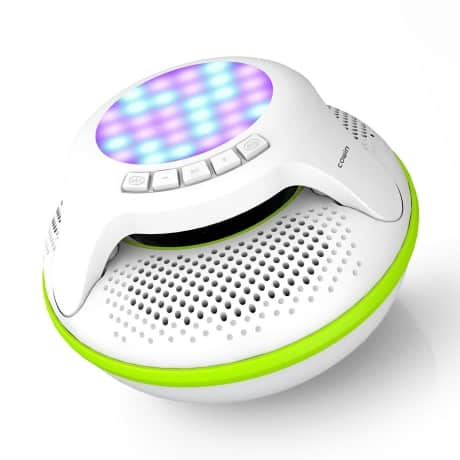 Floating cordless speaker for pool parties and outdoor areas.
