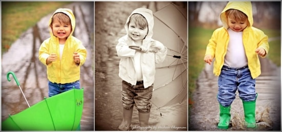 collage of a small boy wearing a yellow raincoat and green rain boots playing outside in the rain in a rain puddle holding a green umbrella