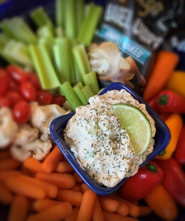 Cream cheese party appetizer for cucumber dill veggie dip trays.