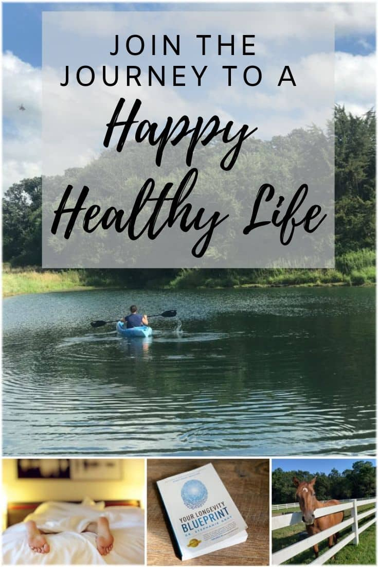 Collage of exhausted woman, Longevity Blueprint book and woman enjoying kayaking on a pond.