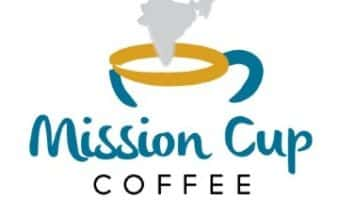 Mission Cup Coffee logo - a cup of coffee with the steam making an image that looks like the country of India.
