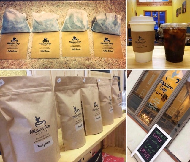 Mission Cup Coffee packages for cold brew coffee or warm coffee to brew at home.