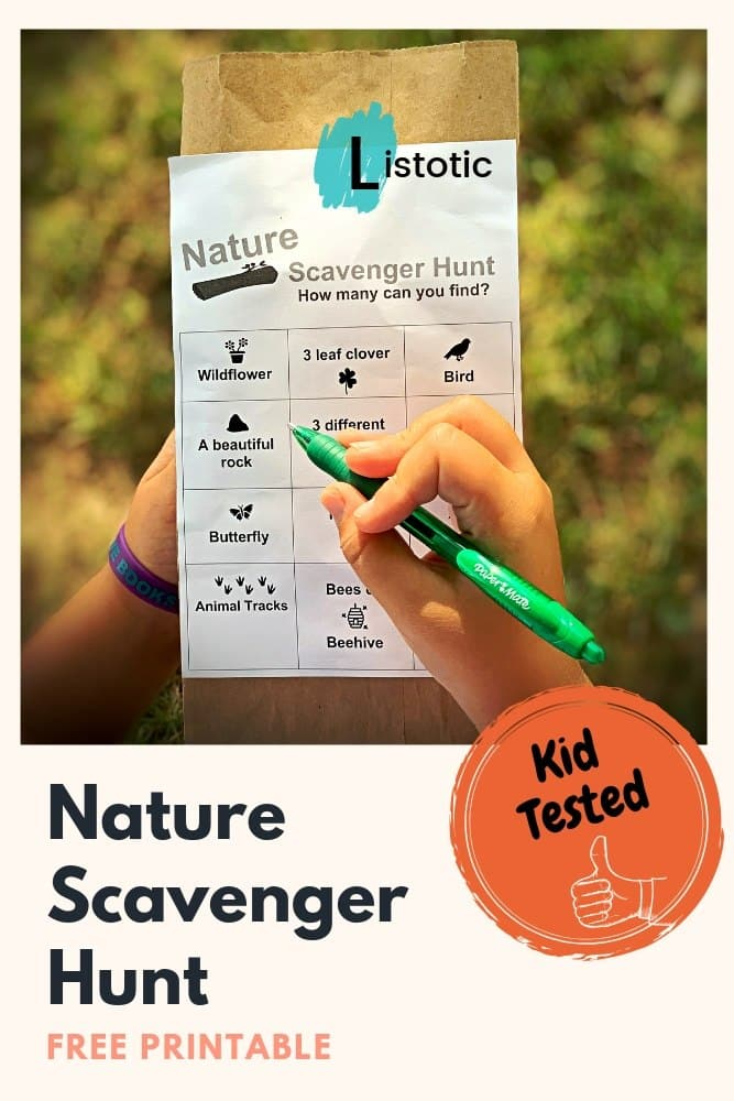 Nature Scavenger hunt free printable being used on a brown paper sack with a kid checking off the bingo shaped box of images and words found in this outdoor activity.