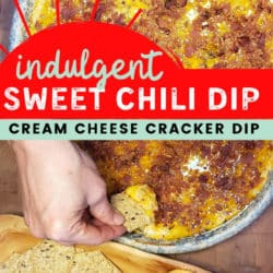 Warm cheesy bacon and sweet chili ritz cracker dip