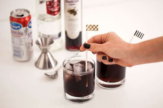 Black Vodka turns this Cranberry Vodka into a creepy dark Halloween themed drink!