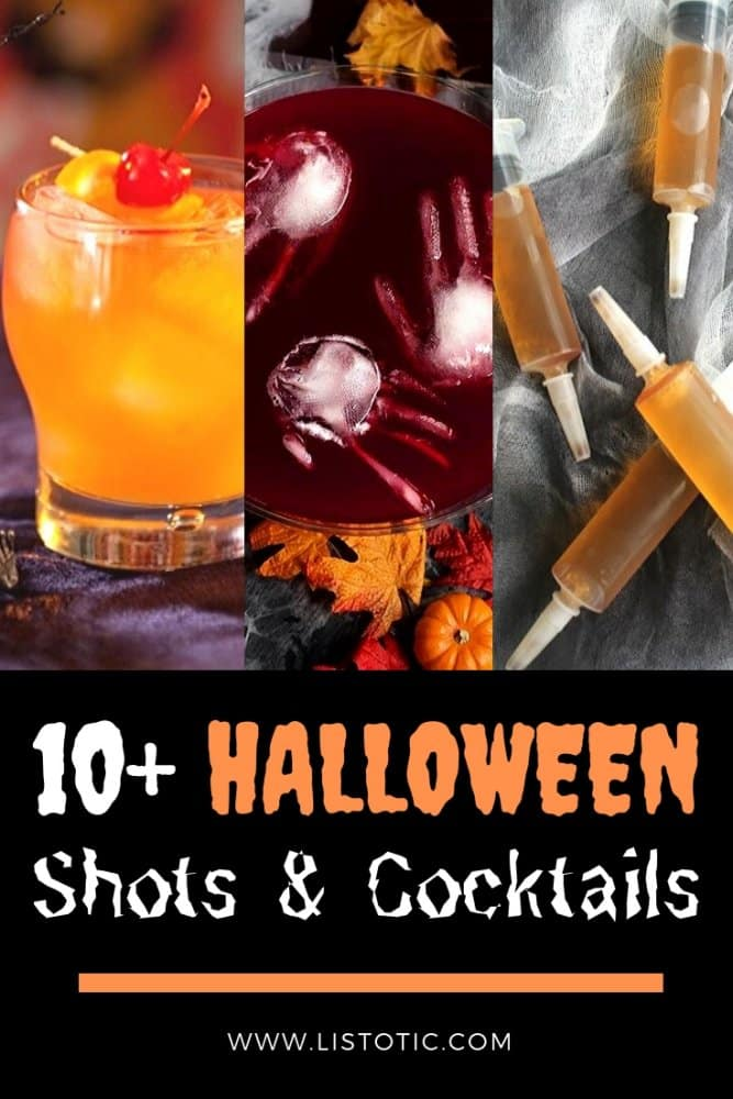 Halloween shots and cocktails including Zombie cocktail, jello shot syringes and hand ice cubes.