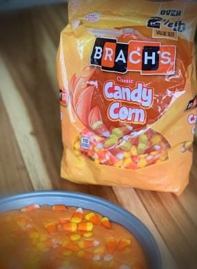 Orange Bag of Brach's candy corn candies.
