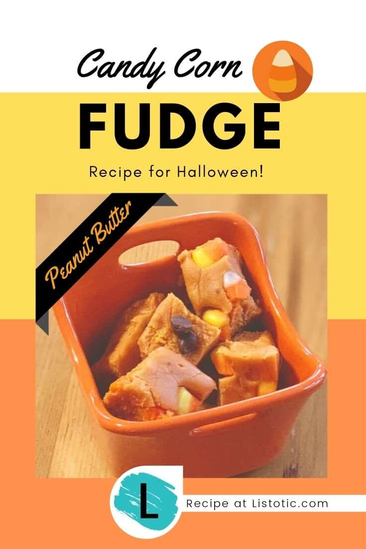 Orange dish with square pieces of Candy Corn Butterfinger fudge stacked inside.