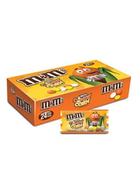 Box of individually packaged candy corn m&m candies for Halloween
