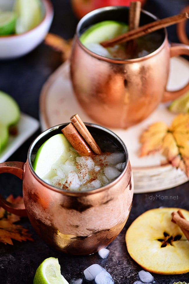 Halloween Party Cocktail Carmel apple Moscow mule in a copper cup garnished with apple slices, cinnamon sticks and sprinkled cinnamon.