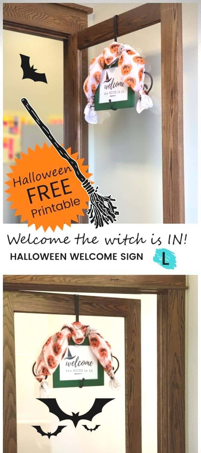 Office door dressed up for Halloween with a Welcome the Witch Is In sign in a frame and a pumpkin scarf decorating the framed Halloween printable.