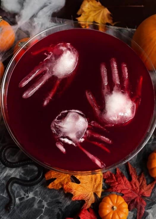 Ice Cube shaped hand to keep your Halloween Punch.