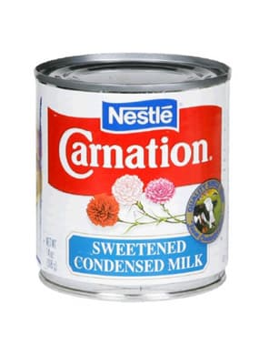 Can of carnation sweetened condensed milk.