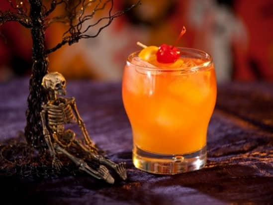 Rum, Brandy Bacaradi flavored Orange Juice Halloween Drink called the Zombie Cocktail.