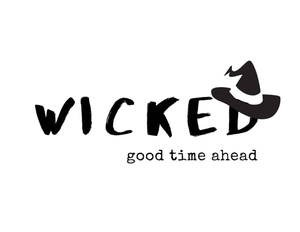 Free printable black and white welcome sign that says Wicked good time ahead with a black witches hat.