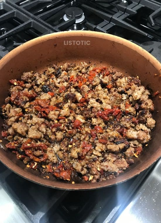 Sausage mixture for sausage pizza egg muffins.