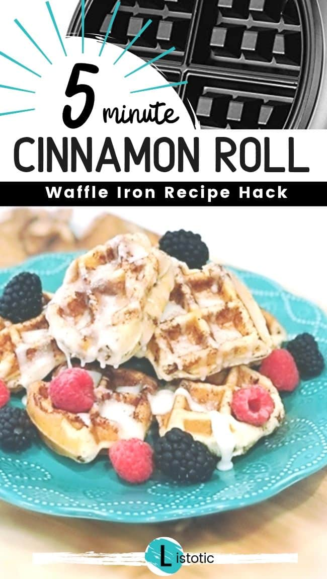 Cinnamon roll waffle with icing and fruit.