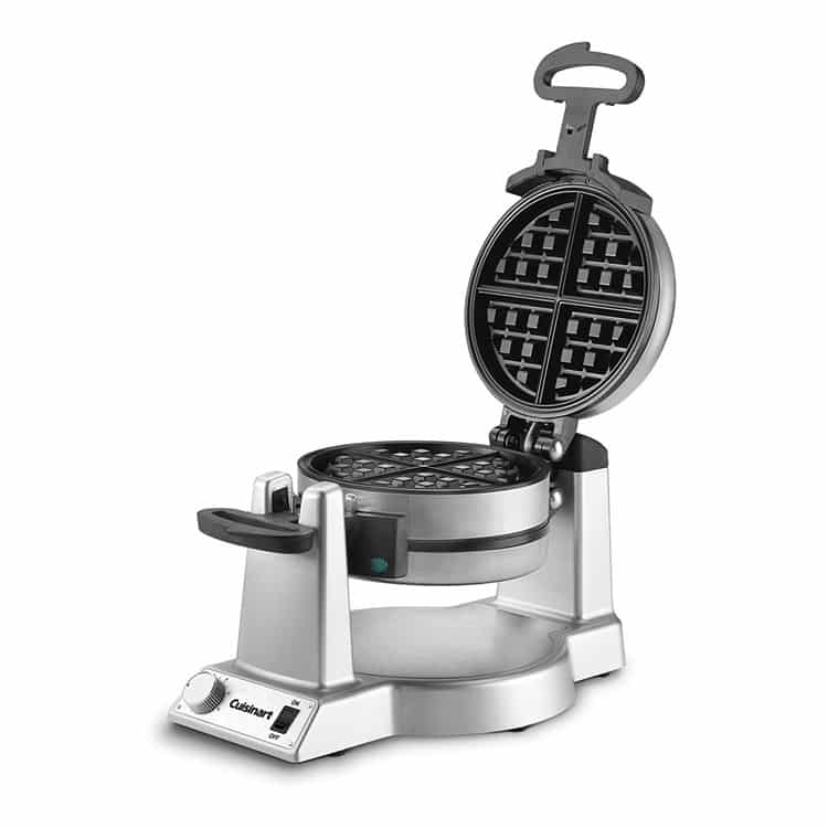 Open Stainless Steel Cuisinart Double Belgian Waffle maker.