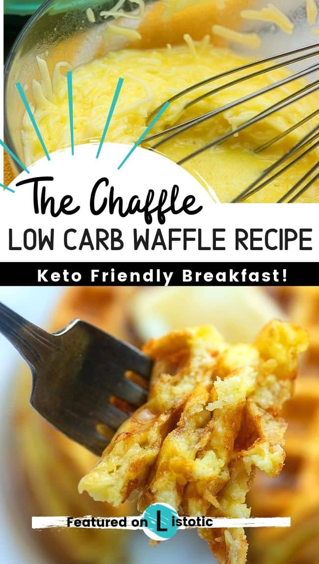 Cheese and egg combined in a mixing bowl and a picture of the finished product after it was placed in a waffle iron. A fluffy bite of Keto-friendly low carb waffles dripping in sugar-free syrup.