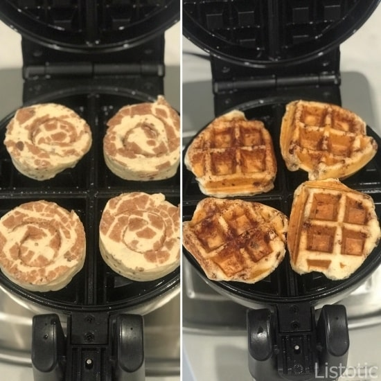 Before and after of four small store purchased Cinnamon rolls in each section on a hot waffle.