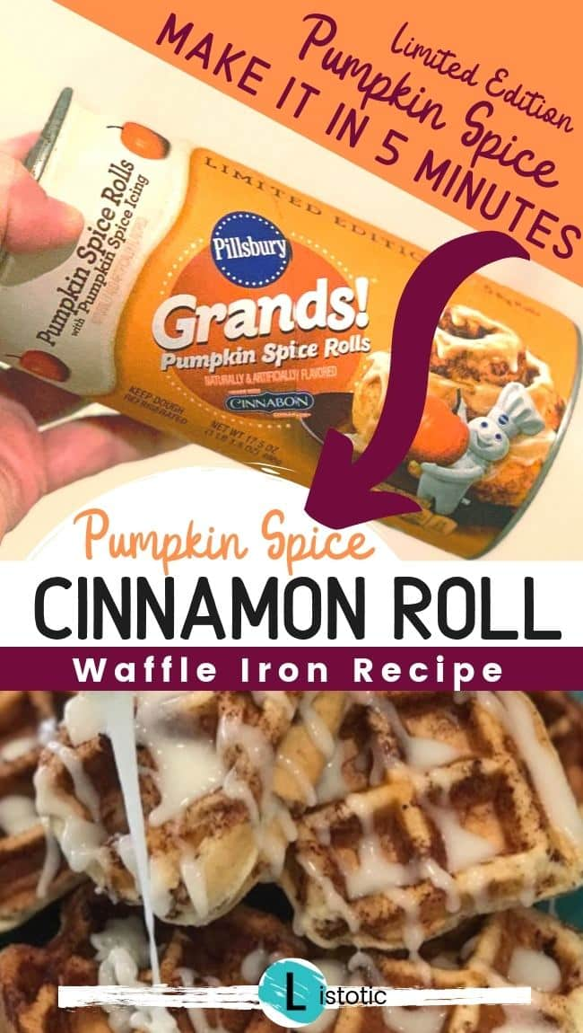 Cinnamon Roll Waffle made with pumpkin spice cinnamon roll from Pillsbury.