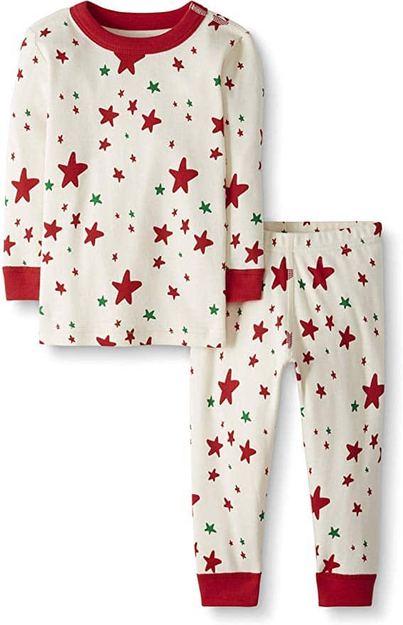 Moon and Back matching pajamas - red and green star.