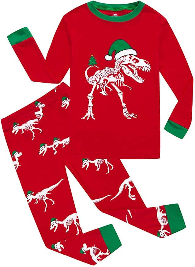 KikizYe Christmas pajamas - Dinosaur Red.
