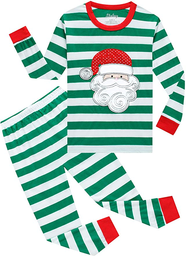 Christmas Pajamas - greet striped Santa Claus.