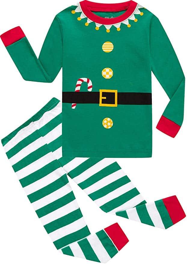 Shelry Pajamas - Green Christmas Stripe.