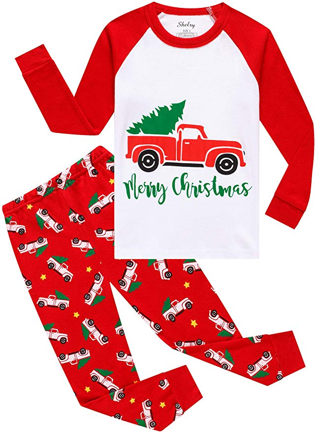 Shelry Christmas Pajamas - Red Christmas Cars.