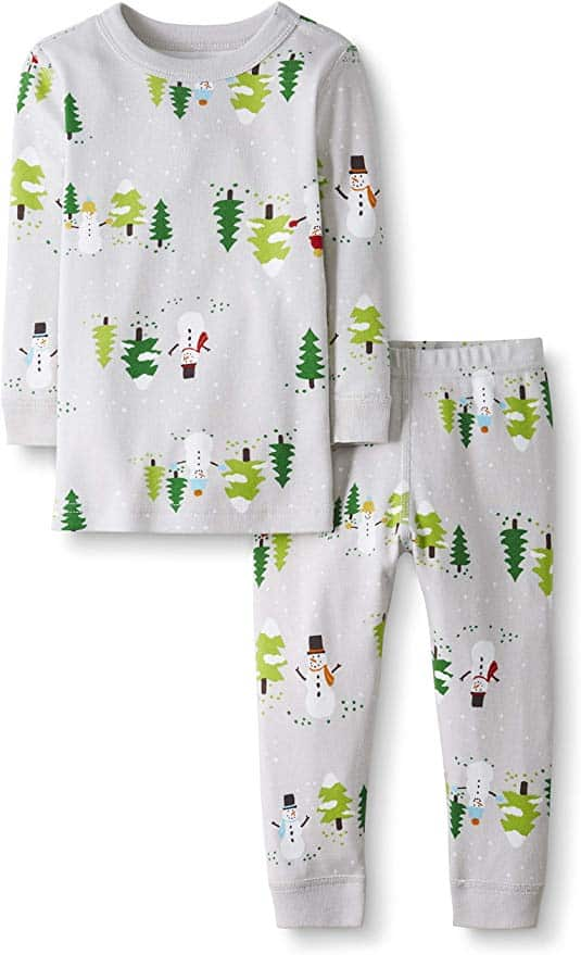 Moon and Back Christmas Pajamas - snowman print.