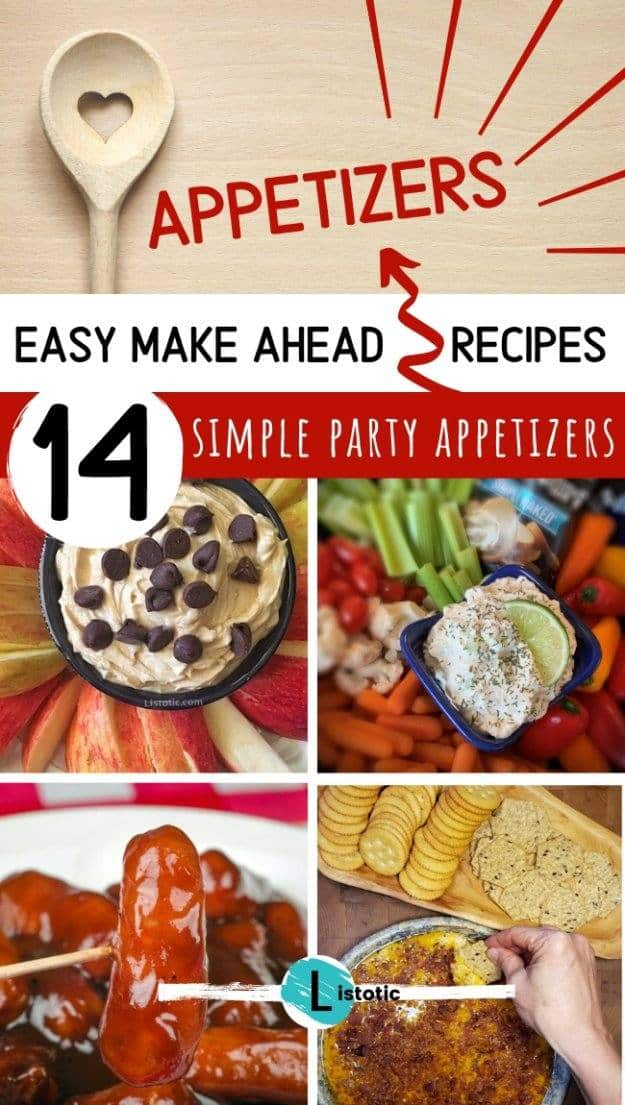 Collage image of the Best make ahead party appetizer recipes to get you ready for the holidays with veggies fruits cheese and deviled eggs.