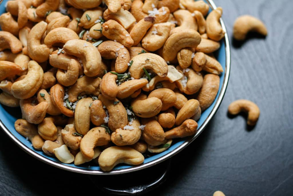 Lemon cashews in a bowl.
