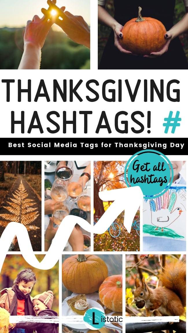Collage of fall images to show the possibilities of using Thanksgiving 2020 Hashtags and black Friday hashtags on Pinterest.