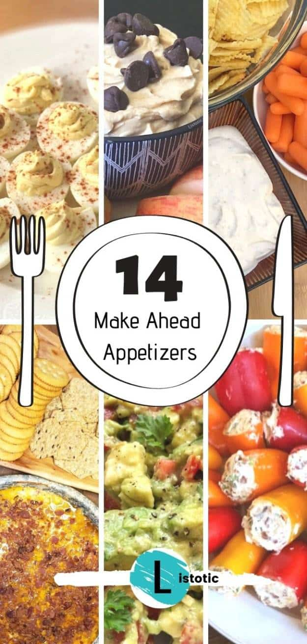 Recipes and ideas for easy make ahead appetizer foods like little smokies, fruit dip, cracker dip and veggie dip