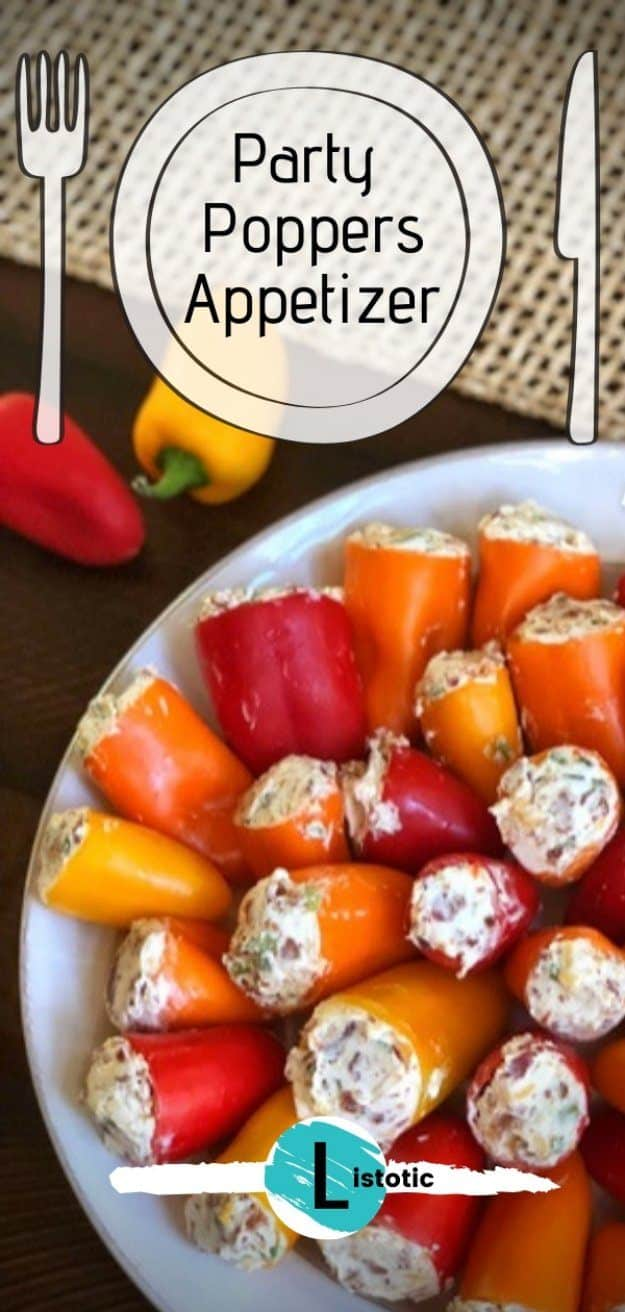 colorful plate of sweet mini peppers filled with cream cheese and jalapeno peppers