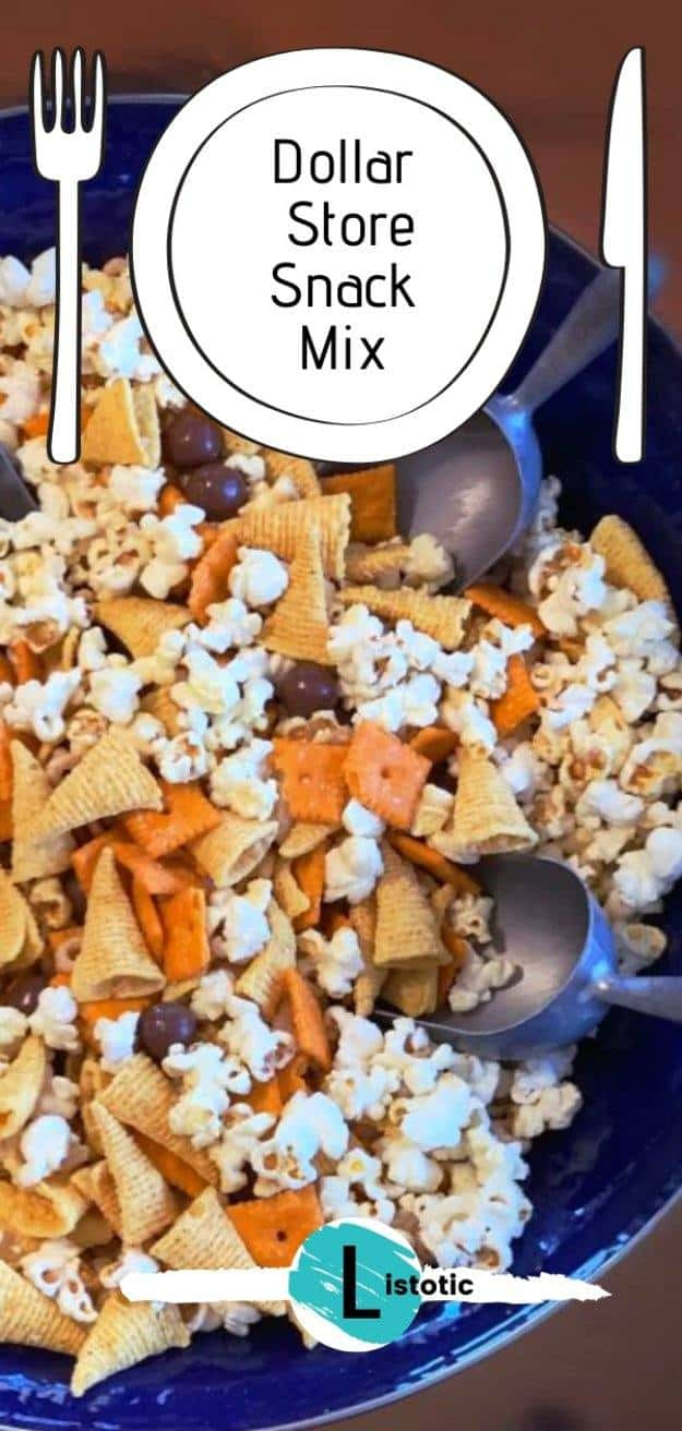 large bowl with scoops of crunchy salty and sweet snacks for a party