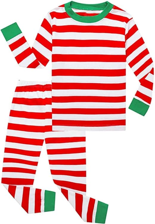 Red and white striped christmas pajamas with green trim
