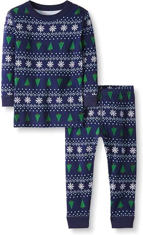 Navy Blue Hanna Anderson Winter Fair Isle Christmas Pajamas with snowflakes and simple green Christmas trees