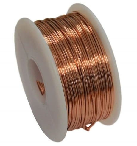 Coiled bare copper 24 GA Wire on a spool