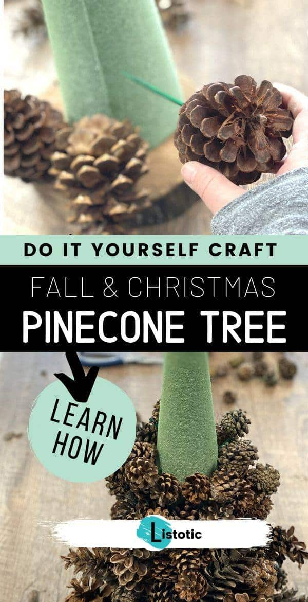 Crafter adding pinecones to a fall or Christmas pine cone tree decor
