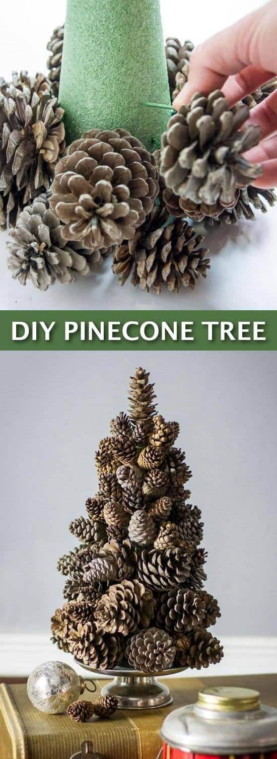 Homemade Christmas tree made from pine cones on a holiday table