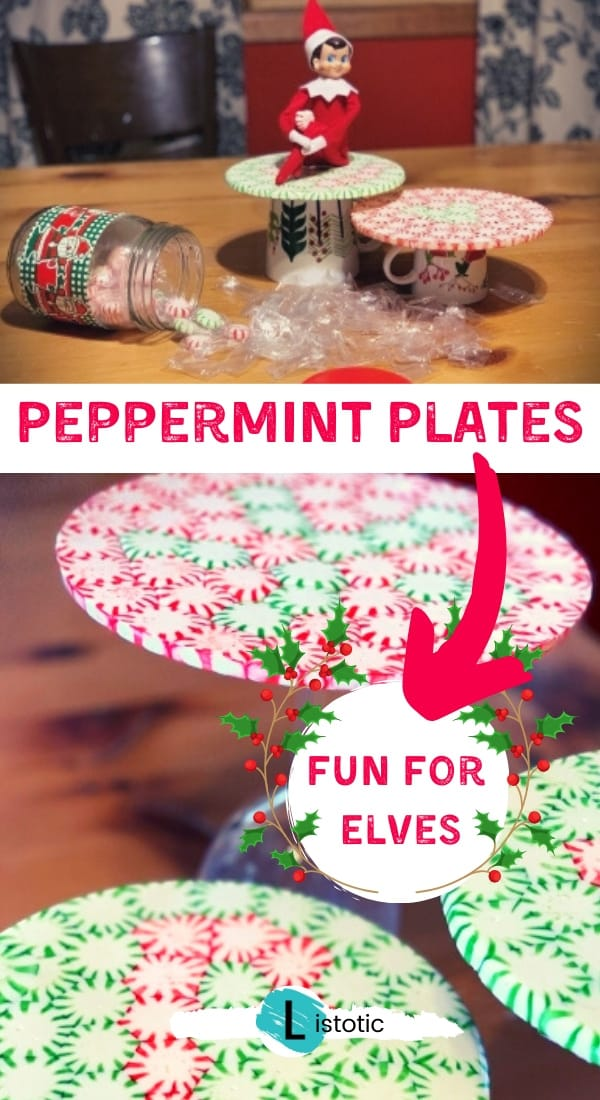 elf on the shelf making melted mint plates for holiday fun
